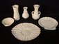 6 pcs. Belleek including 3 vases and 3 shell form plates, largest 11