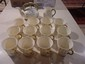 Belleek Shamrock basket weave tea pot, cream pitcher and 12 cups, green and gold marks