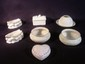 Seven pcs. Belleek table wares: boat dishes, covered boxes, etc., various marks