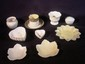 14 pcs. Belleek table wares: six heart shaped dishes, leaf shaped dishes, early painted cup and saucer w/ 3rd gold mark; various marks