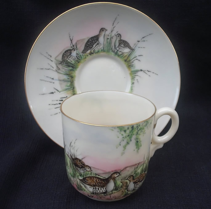 Rare Hand Painted Cyril Arnold Game Bird Cup and Saucer