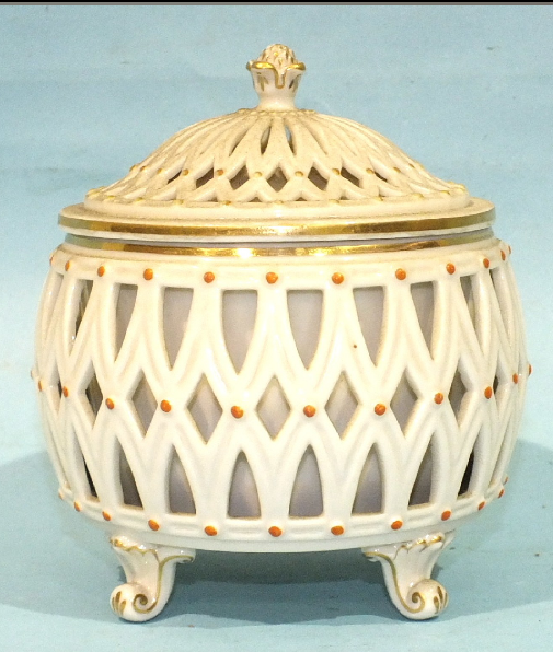 Reticulated Pierced bowl and Cover